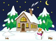 acarena,house,landscape,pine,snowman,wallpaper,winter,house in the snow