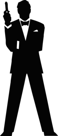 james bond,agent,secret,gun,standing,male,figure,silhouette