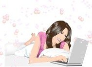 beautiful,girl,lay,chat,her,laptop
