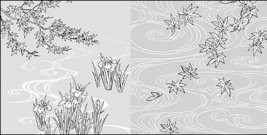 line,drawing,flower,water,iris