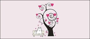 heart,shaped,cartoon,tree,element
