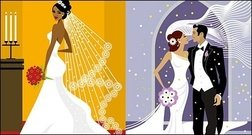 occidental,estilo,boda,ilustración
