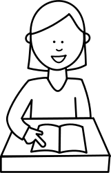 people,girl,school,student,read,reading,book,black and white,outline,colouring book