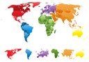World Map with Individual Countries and Separate Continents