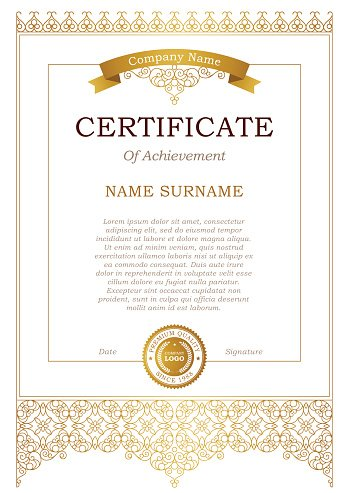 Certificate Template With Golden Premium Clipart Clipartlogo Com