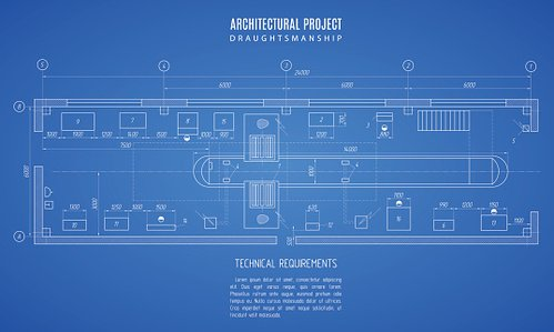 Architectural blueprint technical drawing construction on the blue architectural blueprint technical drawing construction on the blue background malvernweather Gallery