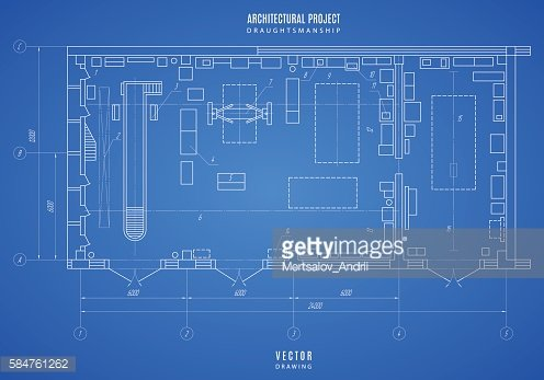 Architectural Blueprint, Technical Drawing, Construction On The Blue  Background