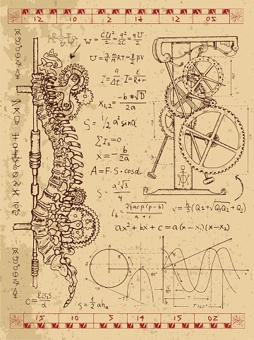 Graphic set with steampunk mechanism in human backbone