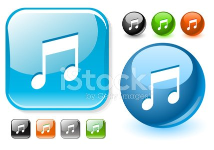 Music note glossy icon