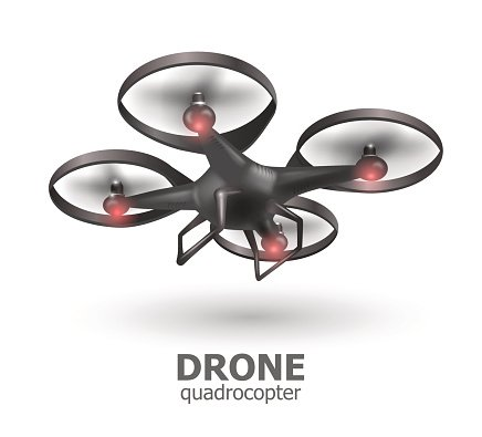 Realistic remote air drone quadrocopter flying on white background. Isomertic