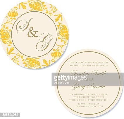 Wedding round doubleside invitation or announcement card