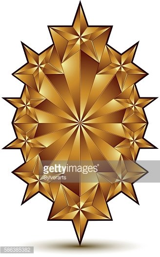 Glamorous Vector Template With Pentagonal Golden Star Symbol Premium