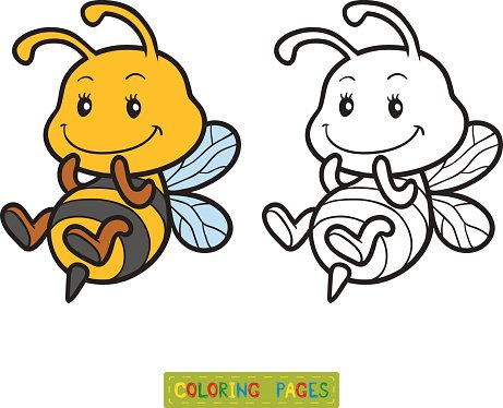 Coloring Book Coloring Page With A Small Bee Clipart Image