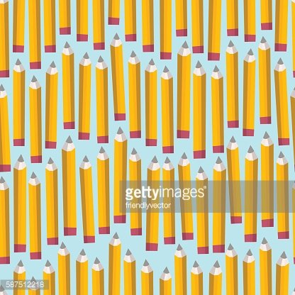 Seamless pattern with blue pencils on white background.