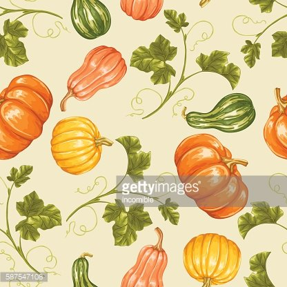 Seamless pattern with pumpkins. Decorative ornament from vegetables and leaves