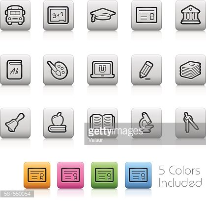 School and Education Icons // Outline Buttons