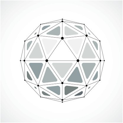 Abstract 3d Faceted Figure With Connected Black Lines And