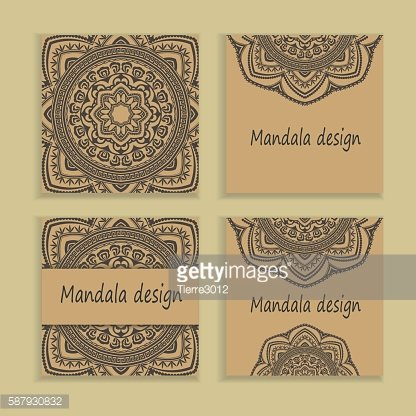 Template Set of traditional flyer pages ornament illustration concept. Vintage