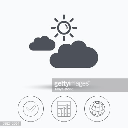 Cloud with sun icon. Sunny weather sign.