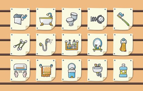 Sanitär UND Bad Icons Set Eps48 Premium Clipart ClipartLogo Classy Bathroom Clipart Set