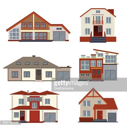 Set of various detailed houses and villas design.