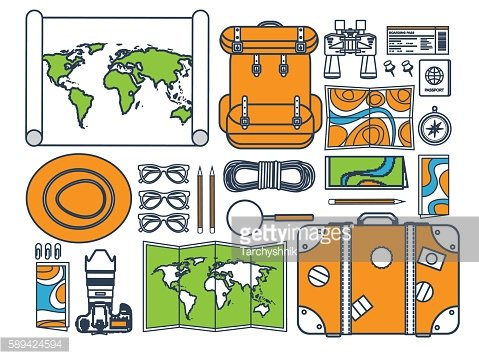 Travel and tourism. Flat style. World, earth map. Globe. Trip