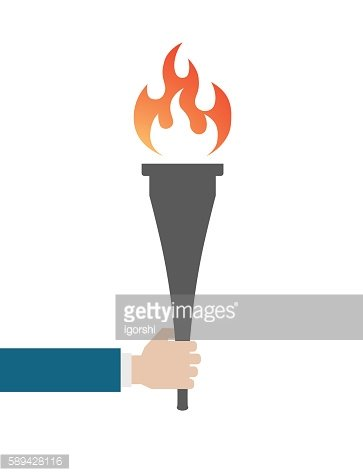 hand with torch flame icon