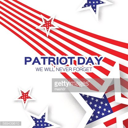 Origami Patriot Day background with stars and stripes.