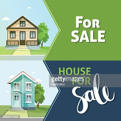 Set of banners property sale. Family house. Flat style modern