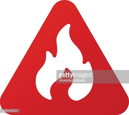 Danger fire warning attention sign icon