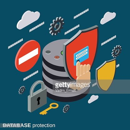 Database protection, computer security vector concept