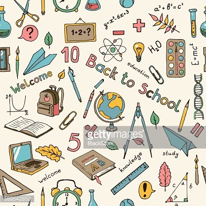 Seamless vector light background with school items