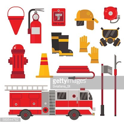 Firefighter protection equipment vector flat set.