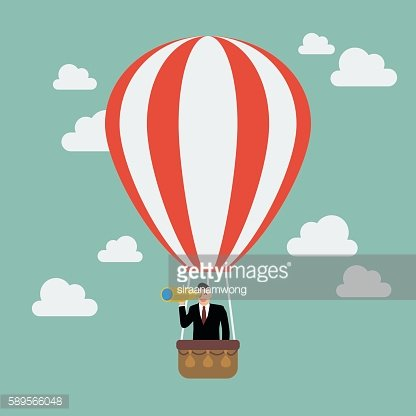 Businessman in hot air balloon search to success