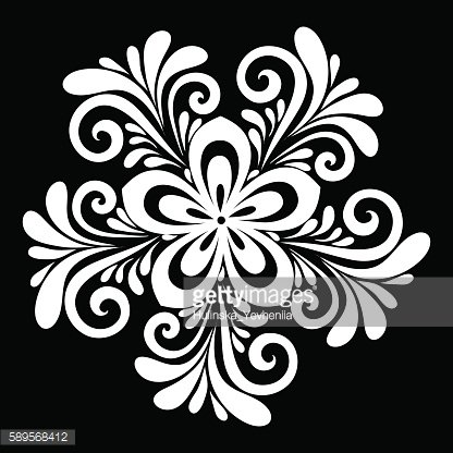 black and white flowers and leaves isolated.