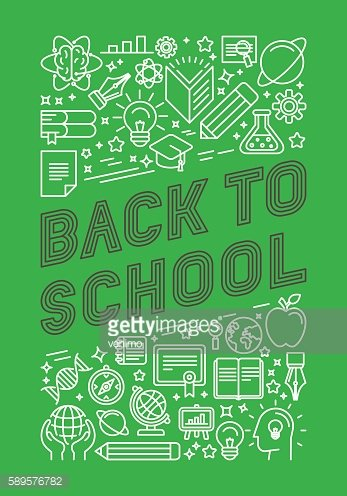 Vector back to school poster design in trendy linear style
