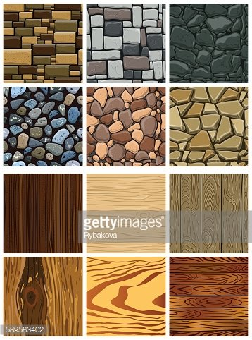Set of wooden and stone seamless pattern