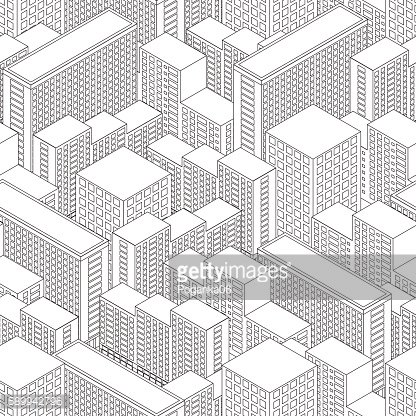 Big Town in isometric view. Seamless pattern with houses.