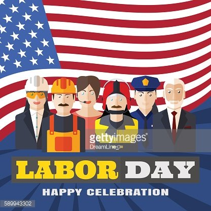 Poster of Happy Labor Day with different professions with flag.