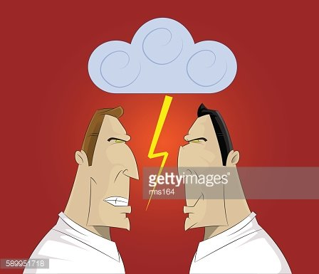 Vector illustration of a two businessmen confrontation
