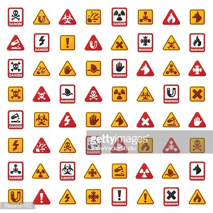 Danger warning attention sign icons