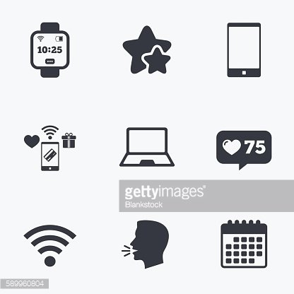 Notebook and smartphone icon. Smart watch symbol