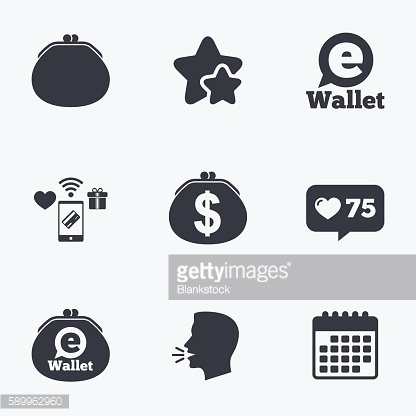 Electronic wallet icons. Dollar cash bag sign.
