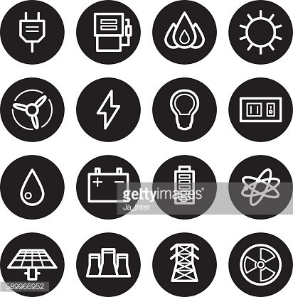 Electricity vector icons set