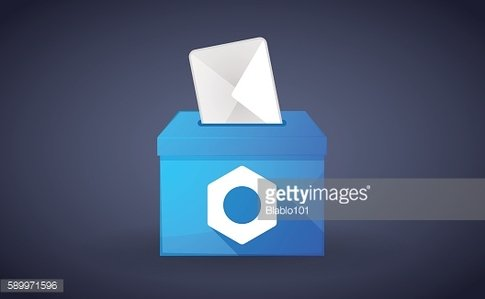 Blue ballot box with a nut