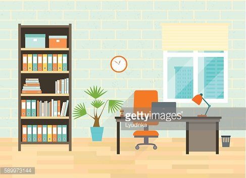 Workplace with table, bookcase, window. Vector flat illustration