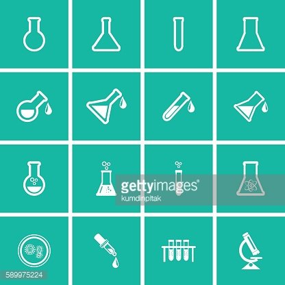 Erlenmeyer flasks flask tube icons. Vector illustration.