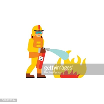 Firefighter Extinguishing Fire Icon