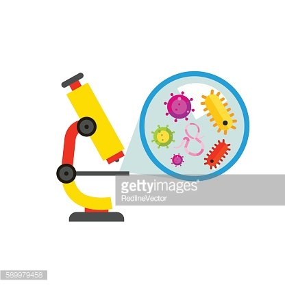 Microscope and Picture of Bacteria Icon