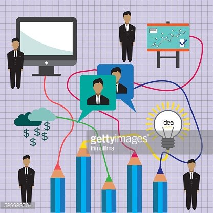 Business idea infographic with icons, persons, computer